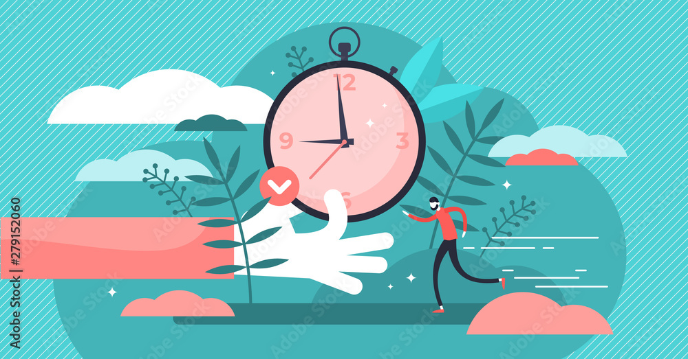 Fototapety, obrazy: Punctual vector illustration. Flat tiny precision timing persons concept.