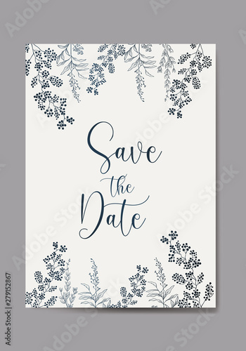 Save The Date Invitation Card Design Vector Illustration