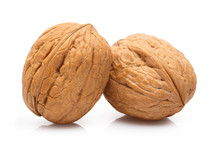 Delicious Whole Walnuts, Isolated On White Background