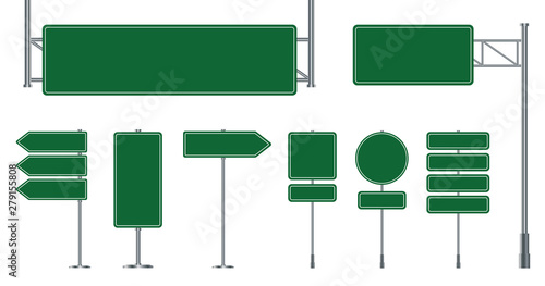 Set of road signs isolated on a white background. Green traffic signs.