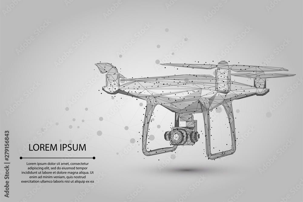 Fototapety, obrazy: Abstract mash line and point Quadrocopter. Vector business illustration. Polygonal low poly 3D flying drone