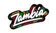 Zambia Word Text Creative Handwritten Font and Swoosh Shape Design Vector Illustration.