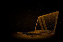 Low Poly Wireframe Laptop. Plexus Lines And Points Vector Illustration