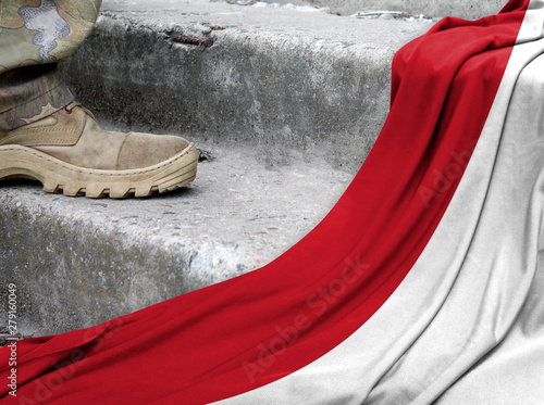 Military concept on the background of the flag of Indonesia Wallpaper Mural