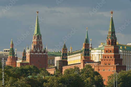 Wall Murals Moscow Image of Kremlin Towers with red Stars and the Residence of the President of Russian Federation at the sunny summer day time. High resolution image.