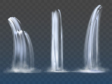 Waterfall Cascade, Realistic Water Fall Streams Set Of Pure Liquid With Fog Of Different Shapes Isolated On Transparent Background. River, Fountain Element For Design. Realistic 3d Vector Illustration