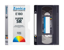 Isolated Vintage VHS Tape With Cover. Vector Colored Illustration On Light Background. Original Retro Objects.  ESP10.