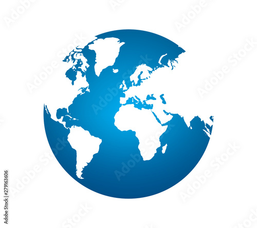 Earth planet globe on white background. world icon symbols. Very beautiful blue planet.Perspective from space. high resolution for used.clipping path