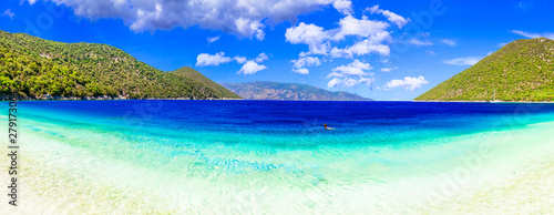 Fotoposter Eigen foto Best beaches of Kefalonia - Antisamos with turquoise waters and green mountains. Greece, Ionian islands