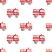 Watercolor Hand Drawn Fire Trucks Seamless Pattern On White Background. Cartoon Illustration, Baby Cute Truck Style Illustration. Textile, Book, Red Colorful Clip Art.