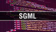 SGML concept illustration using code for developing programs and app. SGML website code with colourful tags in browser view on dark background. SGML on binary computer code, background