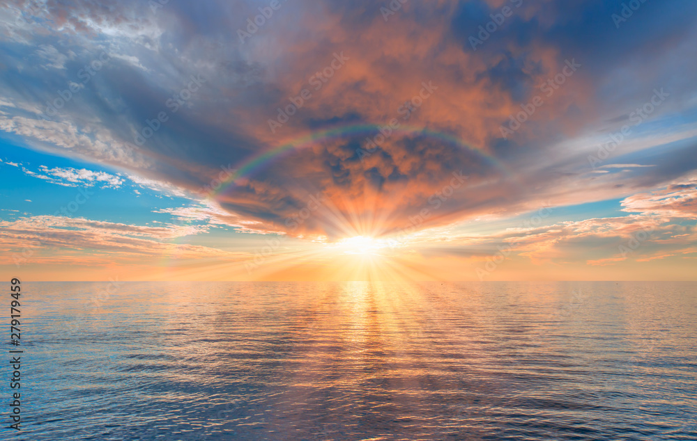 Fototapety, obrazy: Storm on the calm sea with amazing sunset
