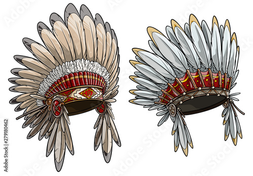 Fototapeta Cartoon detailed colorful native american indian chief headdress with feathers. Isolated on white background. Boho style. Vector icon set. obraz