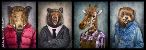 Animals in clothes. People with heads of animals. Concept graphic, photo manipulation for cover, advertising, prints on clothing and other. Boar, bear, giraffe, weasel.