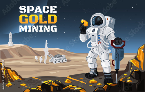Fotografie, Obraz Vector flat illustration of a space gold mining