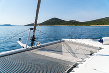 Beautiful View From A Yacht Or Catamaran At Sea And Moutains. Croatia