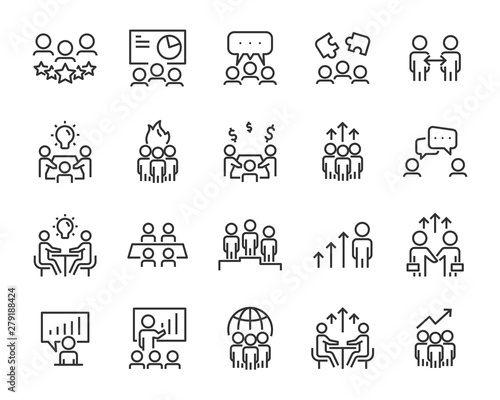Photographie set of people line icons, such as team, meeting, video conference, group, manage