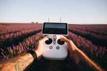 POV Wide Angle Shot Of Man With Tattoo Arms Hold In Both Hands Aerial Drone Remote Control And Fly In The Field Of Pink Lavender Flowers. Content Creation And Professional Travel Blogger Vibes