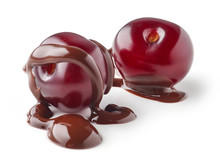 Sour Cherries Covered With Melted Chocolate