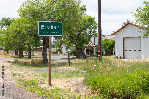 Welcome sign to Bieber CA (formerly Chalk Ford), a small rural town in Lassen Co Wallpaper Mural