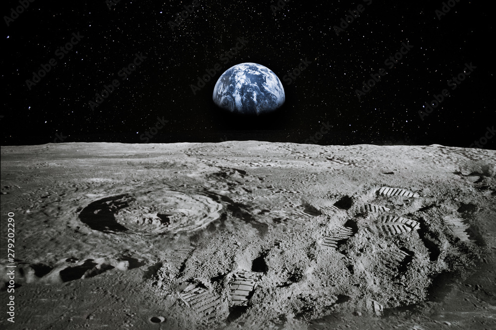 Fototapety, obrazy: View of Moon limb with Earth rising on the horizon. Footprints as an evidence of people being there or great forgery. Collage. Elements of this image furnished by NASA.