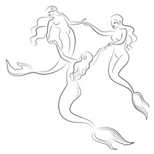 Silhouette Of Two Mermaids. Beautiful Girls Swim In The Water, Dance. The Lady Is Young And Slim. Fantastic Image Of A Fairy Tale. Vector Illustration