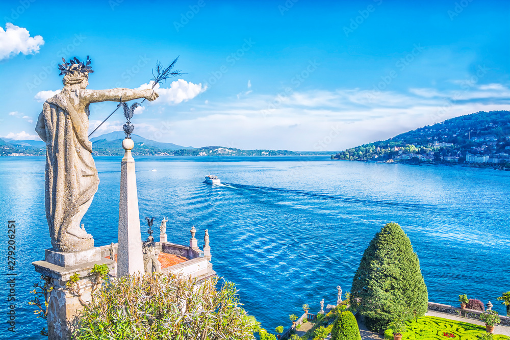 Fototapety, obrazy: Beautiful Isola Bella island with flower garden and sculptures on Lake Lago Maggiore, Stresa, Italy