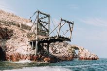 Old Pier With Birds In Ballestas Islands, Peru