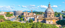Church Of Saint Luca And Martina, Italian: Santi Luca E Martina, In Roman Forum, Rome, Italy. Panoramic View