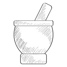 Sketch Of A Mortar With Pestle - VEctor