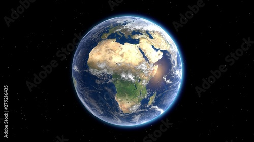 Fotografie, Tablou Flying over the earth's surface, Africa. 3D rendering.