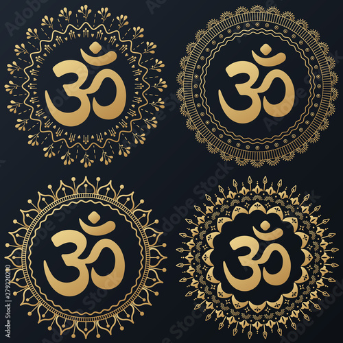Photo sur Aluminium Style Boho Set of Ethnic gold flower wreath with hieroglyph om. Vector boho illustration.