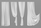 Fototapeta Miasto - White curtains set isolated on transparent background. Folded cloth for window decoration, soft lightweight clear material, fabric hangings drapery of different forms. Realistic 3d vector illustration