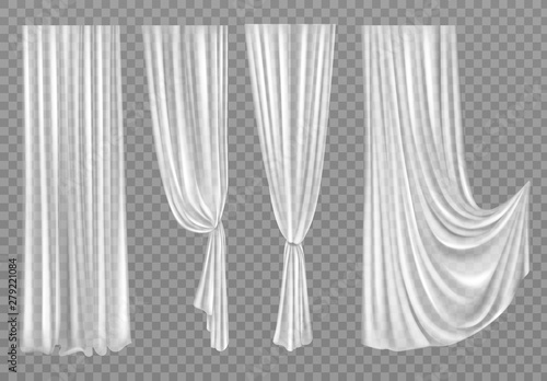 Photo White curtains set isolated on transparent background