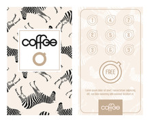 Horizontal Card With Loyalty Program For Customers. Designed For E.g. Coffee Shops, Caffee Houses, Bistro, Etc.