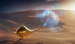 Magical Aladdin oil lamp with genie in desert. 3D rendered illus
