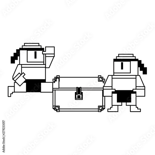 Fotografía Videogame pixelated ninjas characters symbol