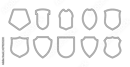 Fotografie, Obraz Set of military or heraldic shield and emblem empty icons