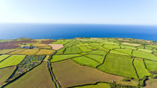 Aerial View Of Green, Ploughed...