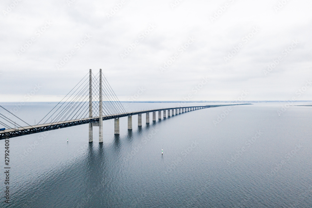 Fototapety, obrazy: Aerial view of the bridge between Denmark and Sweden, Oresundsbron. Oresund Bridge close up view.