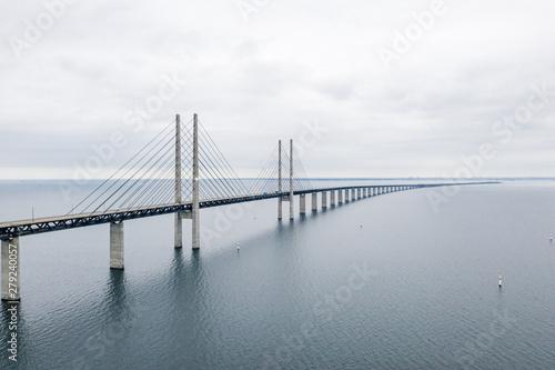 Aerial view of the bridge between Denmark and Sweden, Oresundsbron Wallpaper Mural