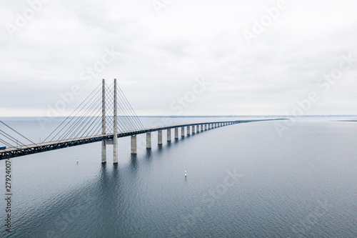 Aerial view of the bridge between Denmark and Sweden, Oresundsbron. Oresund Bridge close up view. - 279240074