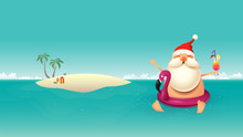 Christmas Summer Background With Santa Claus In Flamingo Float And Sandy Island - Vector Illustration
