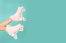 Pink Roller Skates On The Legs...