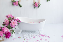 Baby Bath And Peony Flowers. P...