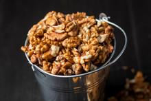 Shelled Walnuts In A Metal Bucket