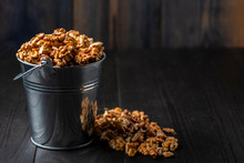 Shelled Walnuts In A Metal Bucket