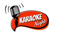 Karaoke Night Party Script On Comic Strip Speech Bubble Emblem. Stage Retro Vintage Microphone Vector Illustration Template
