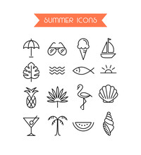 Summer Icon Set.Trendy Symbol Collection For Web And App. Editable Stroke.