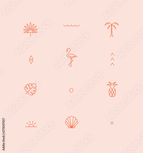 mata magnetyczna Summer geometric pattern.Trendy symbol collection for Web and App.